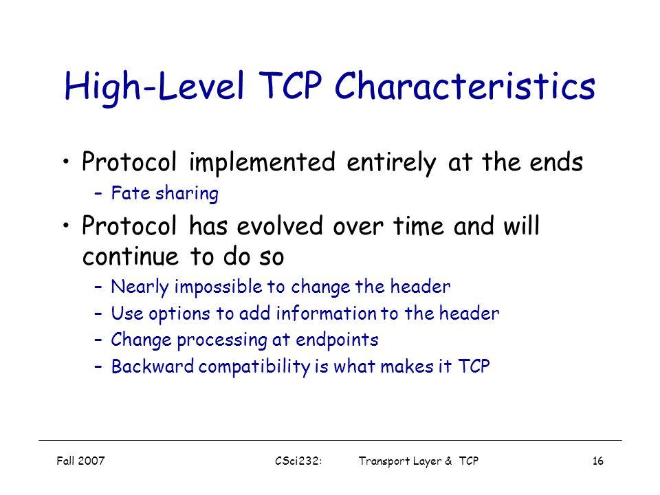 High-Level TCP Characteristics