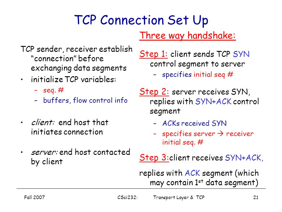 CSci232: Transport Layer & TCP