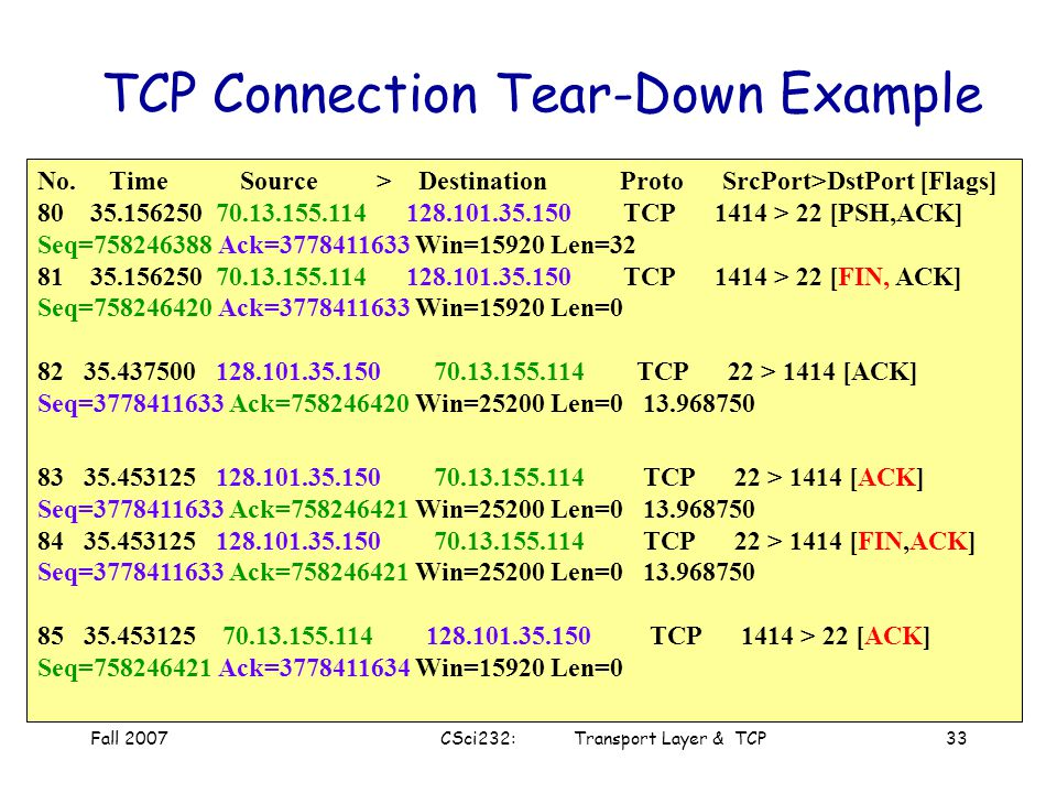 TCP Connection Tear-Down Example
