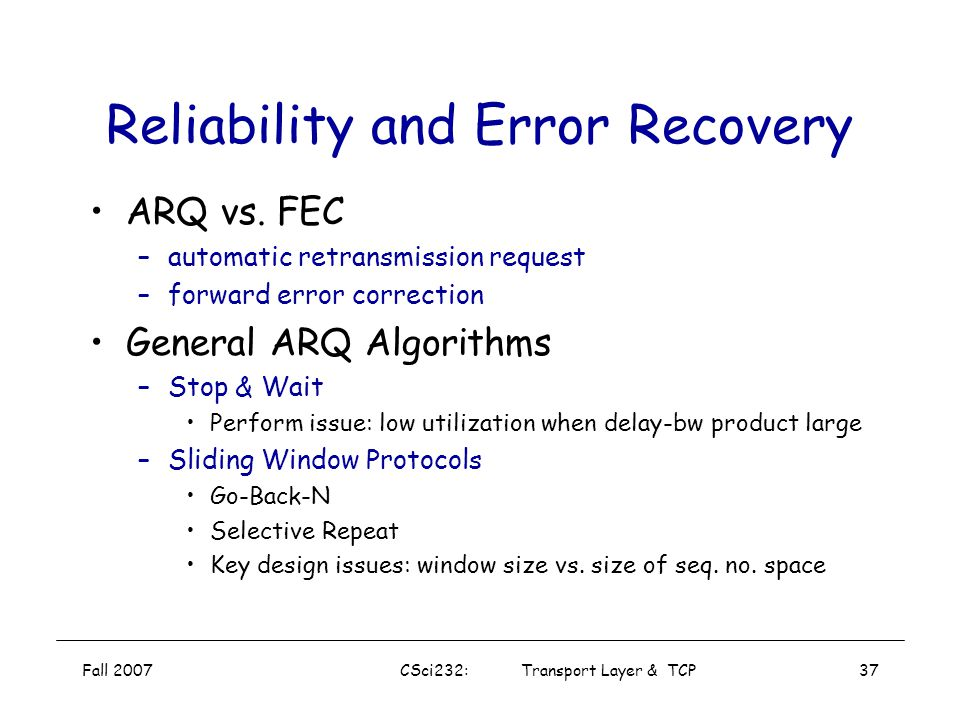 Reliability and Error Recovery