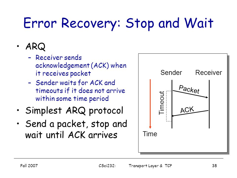 Error Recovery: Stop and Wait