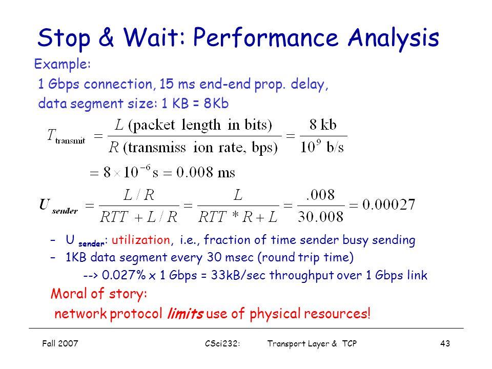 Stop & Wait: Performance Analysis