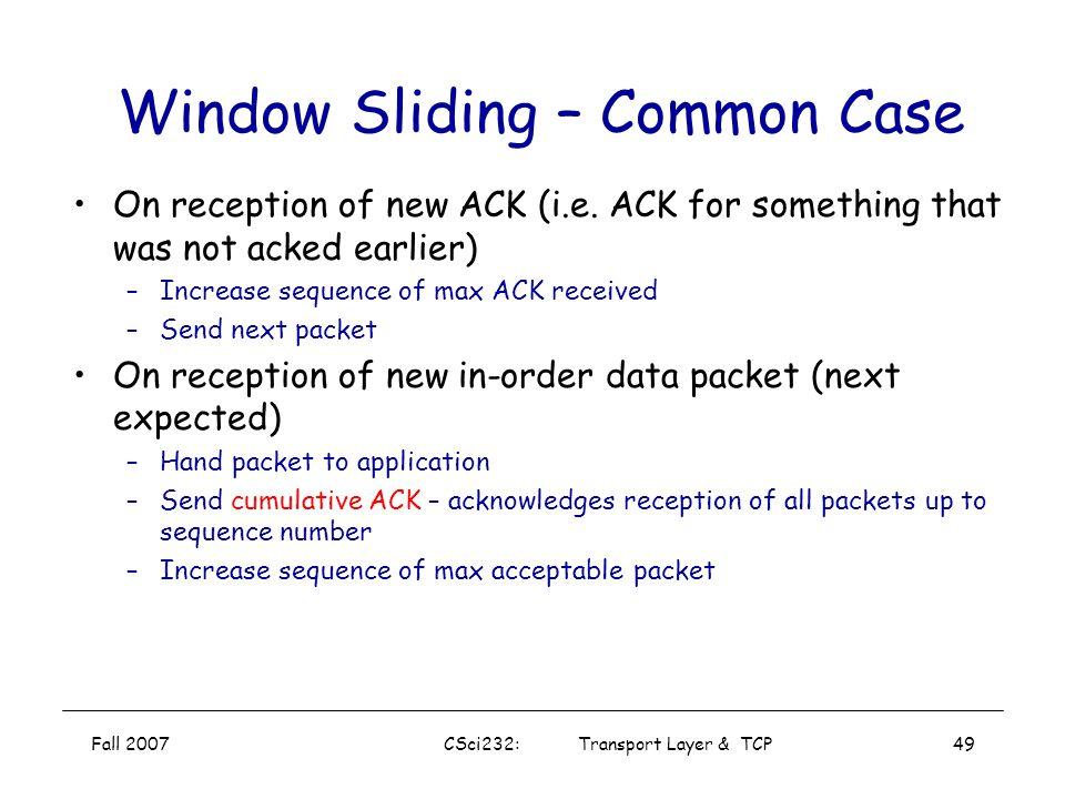 Window Sliding – Common Case