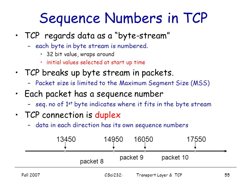 Sequence Numbers in TCP