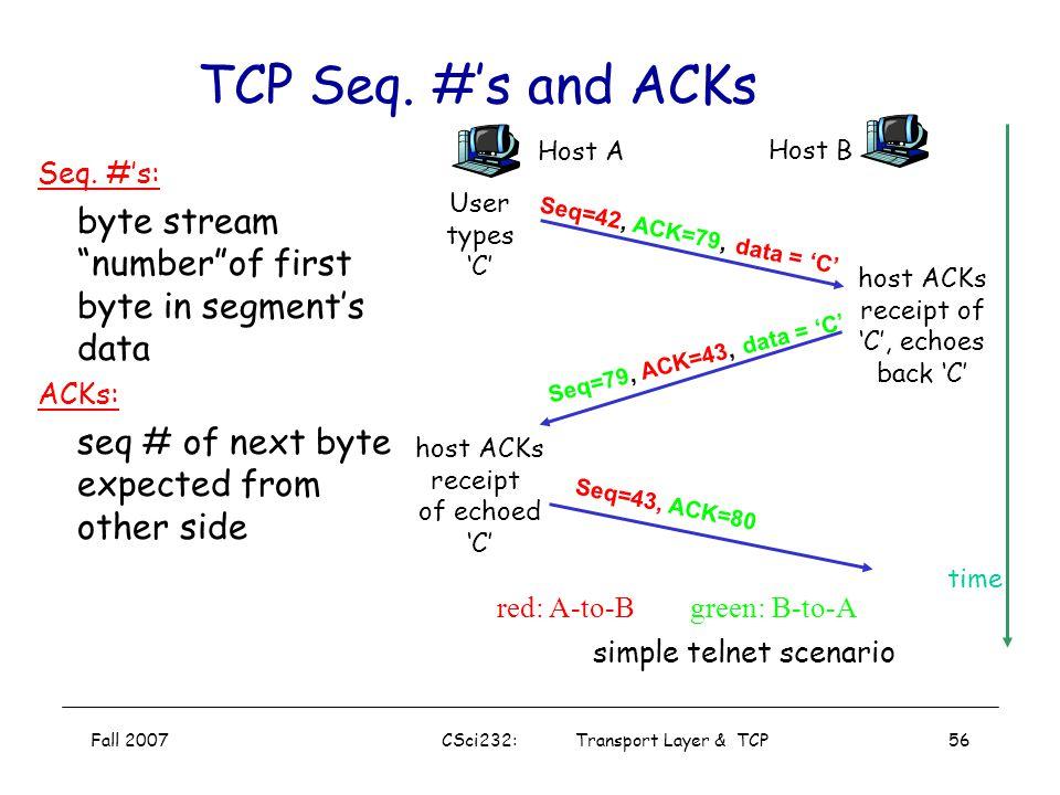 TCP Seq. #'s and ACKs host ACKs. receipt. of echoed. 'C' Host A. Host B. Seq=42, ACK=79, data = 'C'