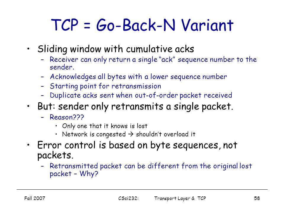 TCP = Go-Back-N Variant