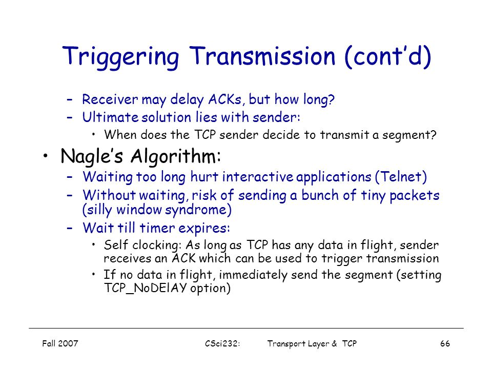Triggering Transmission (cont'd)