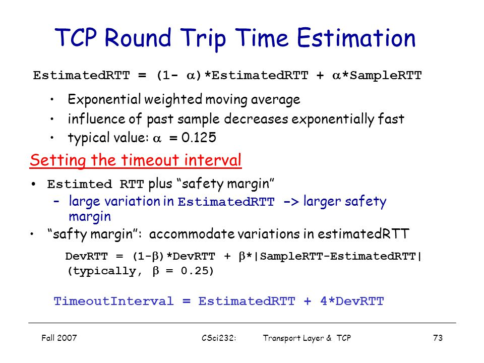 TCP Round Trip Time Estimation
