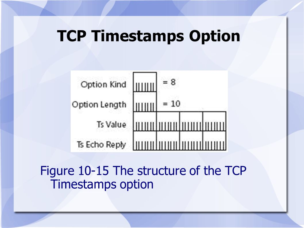 TCP Timestamps Option Figure 10-15 The structure of the TCP Timestamps option