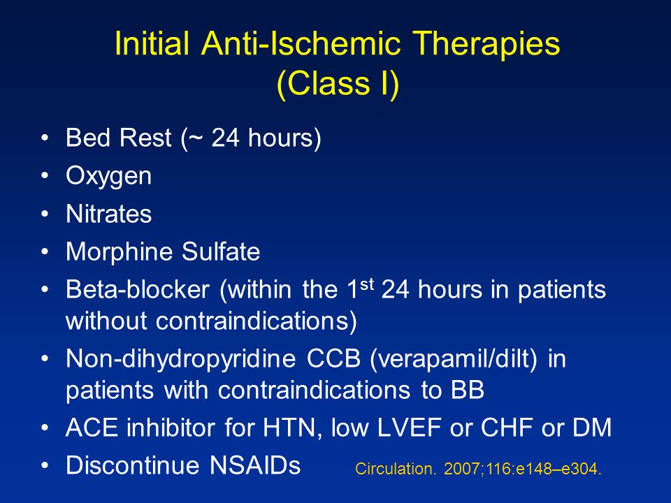Initial Anti-Ischemic Therapies (Class I)