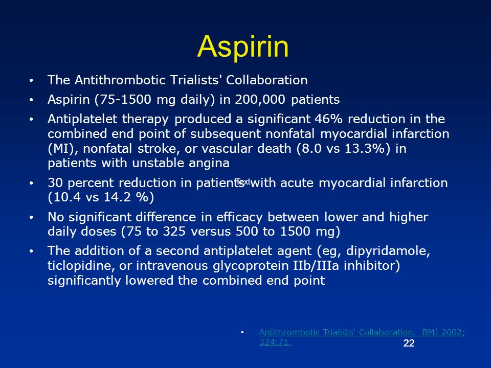 Aspirin The Antithrombotic Trialists Collaboration
