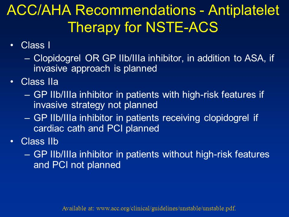 ACC/AHA Recommendations - Antiplatelet Therapy for NSTE-ACS
