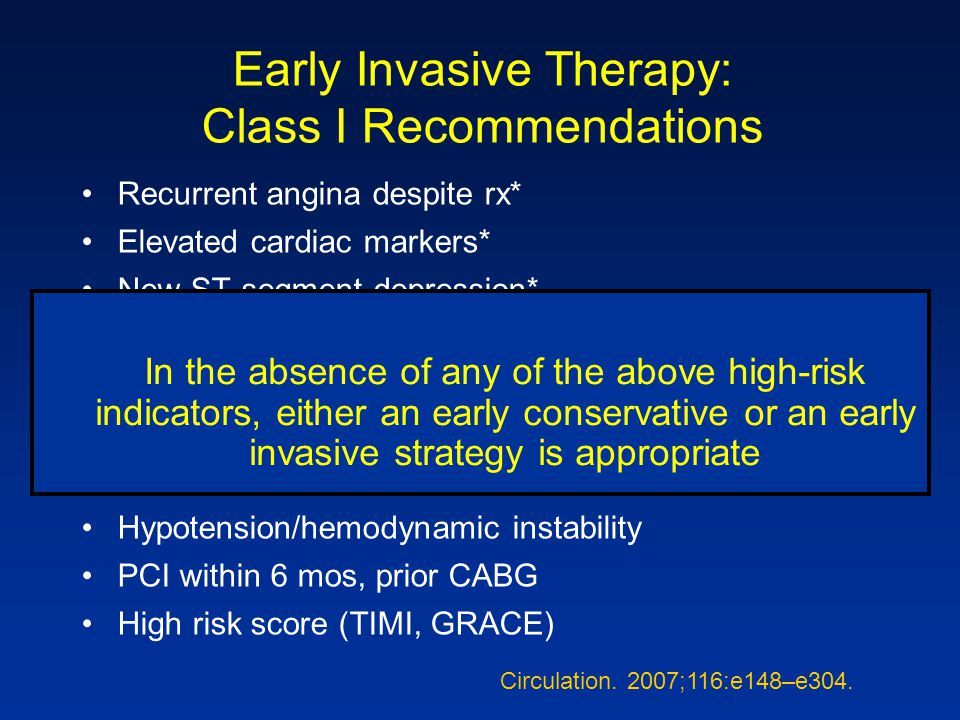 Early Invasive Therapy: Class I Recommendations