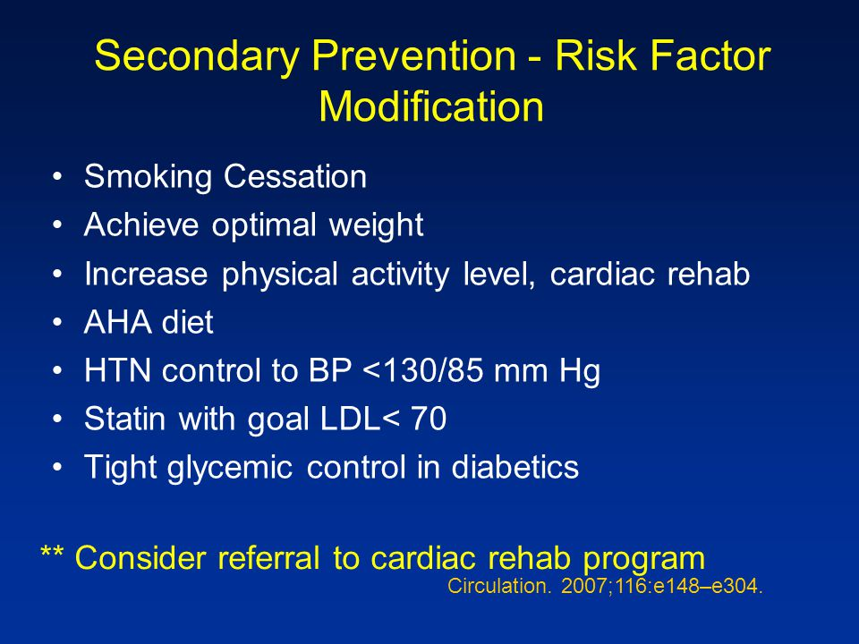 Secondary Prevention - Risk Factor Modification