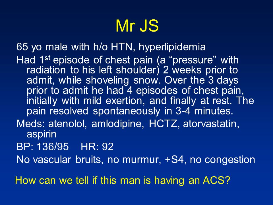 Mr JS 65 yo male with h/o HTN, hyperlipidemia