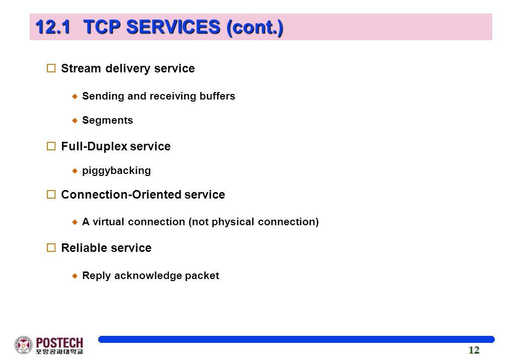 12.1 TCP SERVICES (cont.) Stream delivery service Full-Duplex service