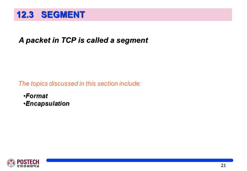 12.3 SEGMENT A packet in TCP is called a segment
