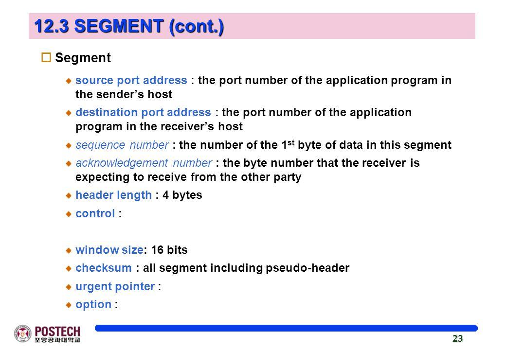 12.3 SEGMENT (cont.) Segment