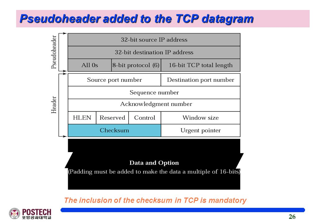 Pseudoheader added to the TCP datagram