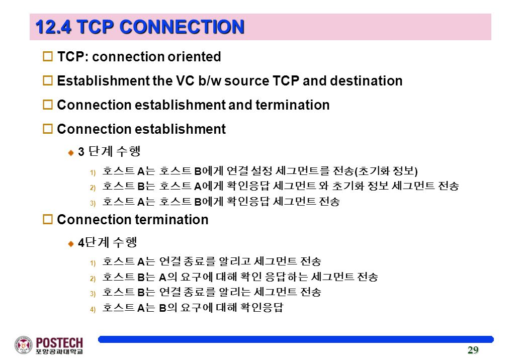 12.4 TCP CONNECTION TCP: connection oriented