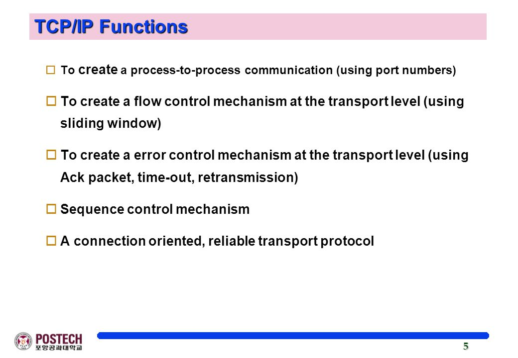 TCP/IP Functions To create a process-to-process communication (using port numbers)