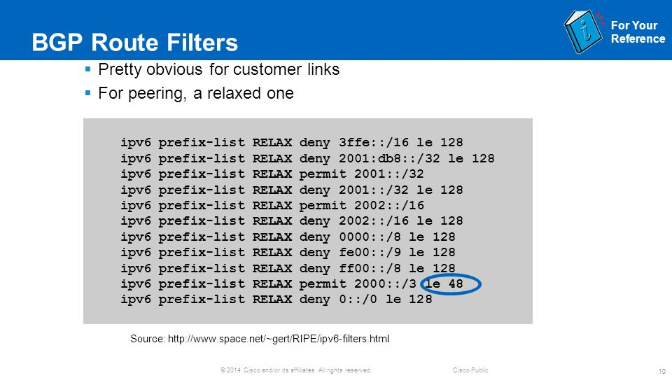 BGP Route Filters Pretty obvious for customer links