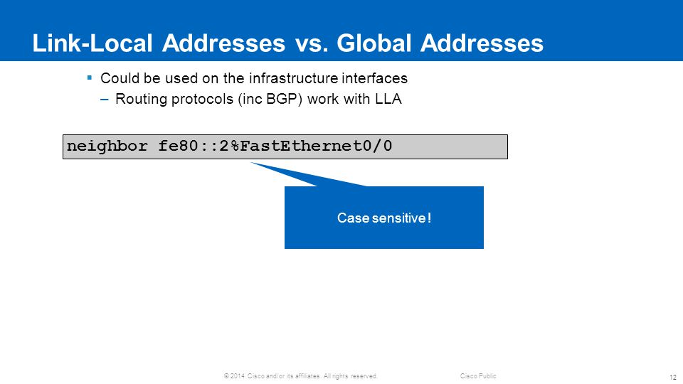 Link-Local Addresses vs. Global Addresses