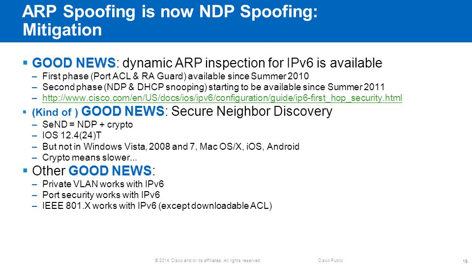 ARP Spoofing is now NDP Spoofing: Mitigation