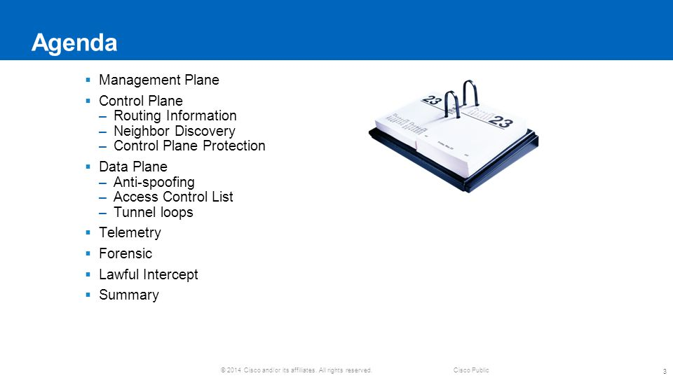 Agenda Management Plane Control Plane Routing Information