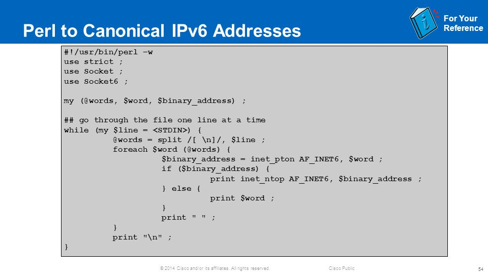 Perl to Canonical IPv6 Addresses
