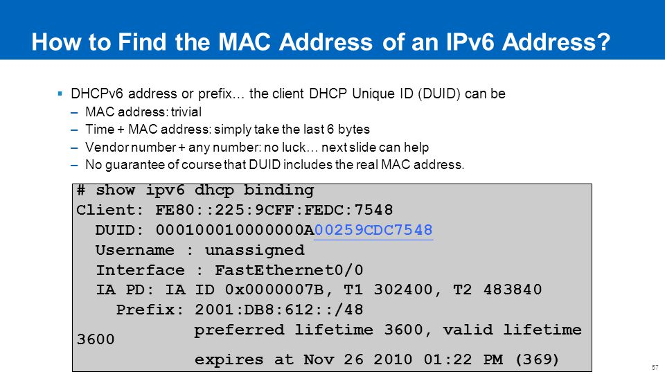 How to Find the MAC Address of an IPv6 Address