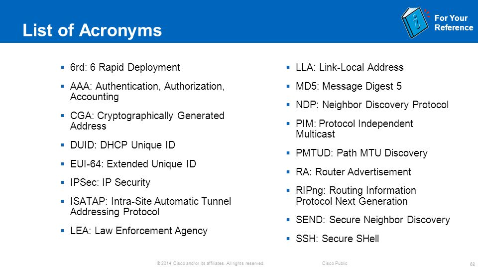 List of Acronyms 6rd: 6 Rapid Deployment