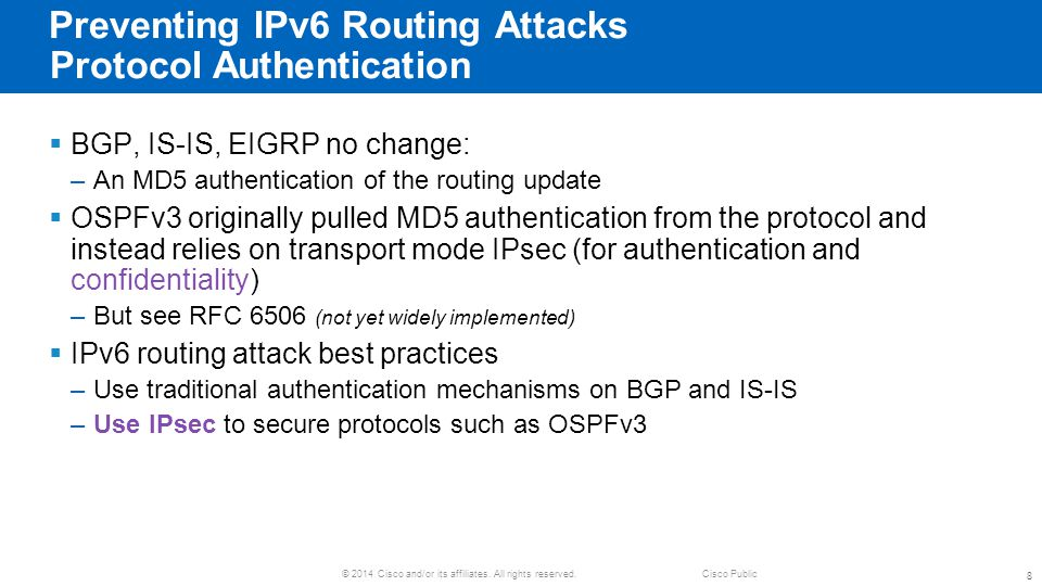 Preventing IPv6 Routing Attacks Protocol Authentication