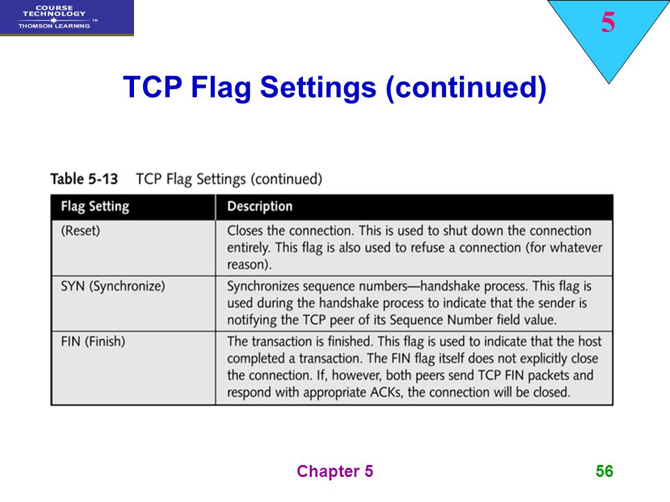 TCP Flag Settings (continued)