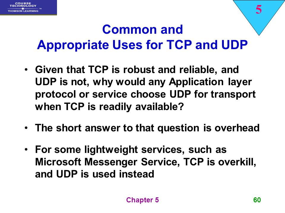 Common and Appropriate Uses for TCP and UDP