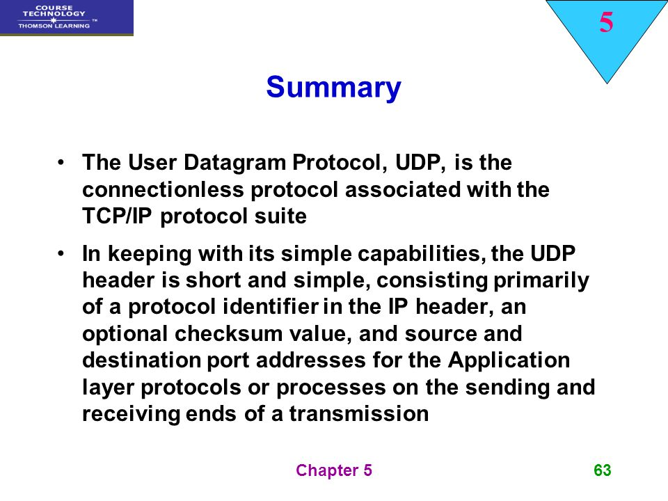 Summary The User Datagram Protocol, UDP, is the connectionless protocol associated with the TCP/IP protocol suite.