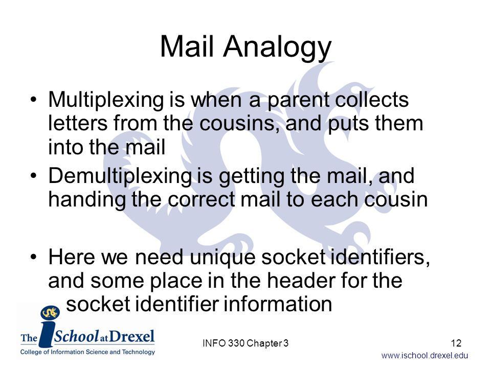 Mail Analogy Multiplexing is when a parent collects letters from the cousins, and puts them into the mail.