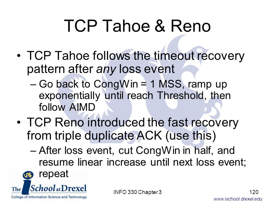 TCP Tahoe & Reno TCP Tahoe follows the timeout recovery pattern after any loss event.