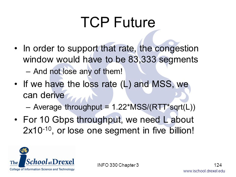 TCP Future In order to support that rate, the congestion window would have to be 83,333 segments. And not lose any of them!