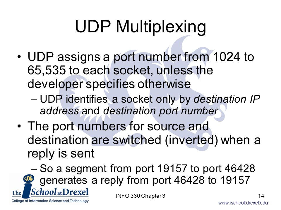 UDP Multiplexing UDP assigns a port number from 1024 to 65,535 to each socket, unless the developer specifies otherwise.