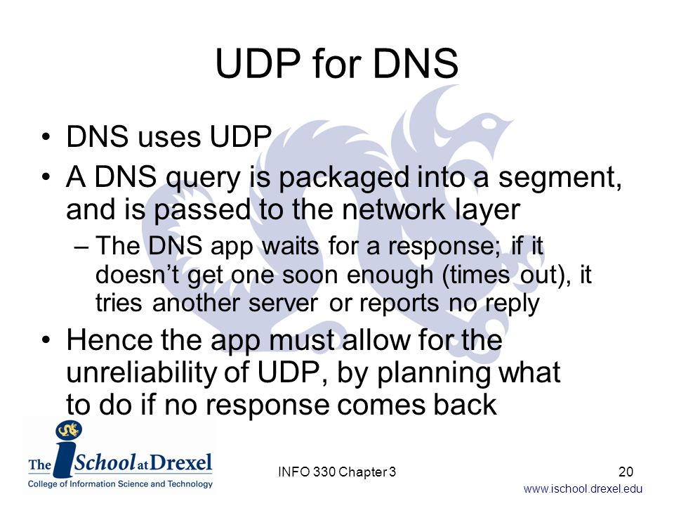 UDP for DNS DNS uses UDP. A DNS query is packaged into a segment, and is passed to the network layer.