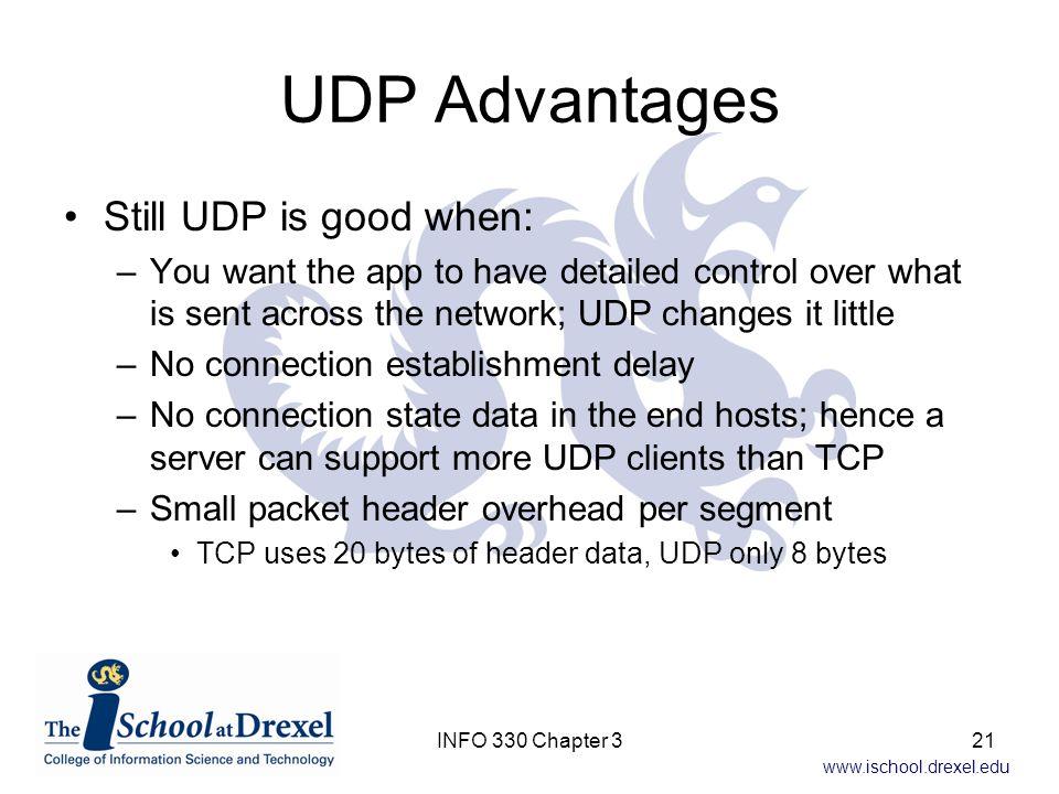 UDP Advantages Still UDP is good when: