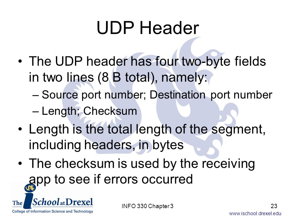 UDP Header The UDP header has four two-byte fields in two lines (8 B total), namely: Source port number; Destination port number.