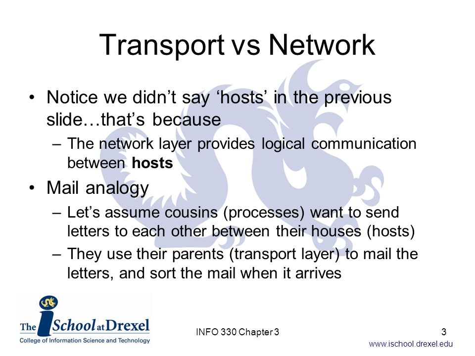 Transport vs Network Notice we didn't say 'hosts' in the previous slide…that's because.