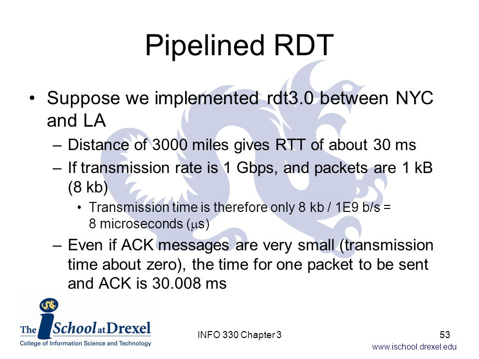 Pipelined RDT Suppose we implemented rdt3.0 between NYC and LA