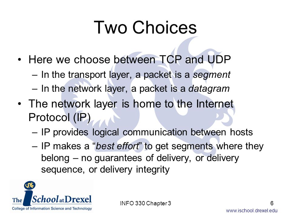 Two Choices Here we choose between TCP and UDP