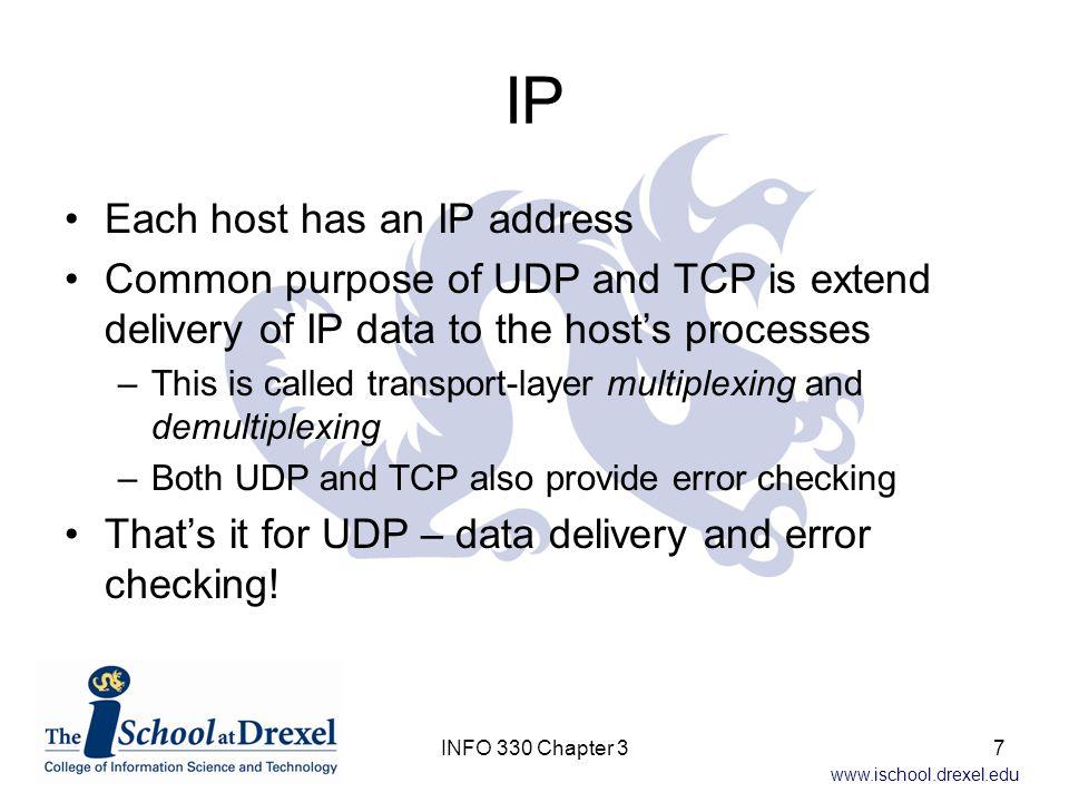 IP Each host has an IP address