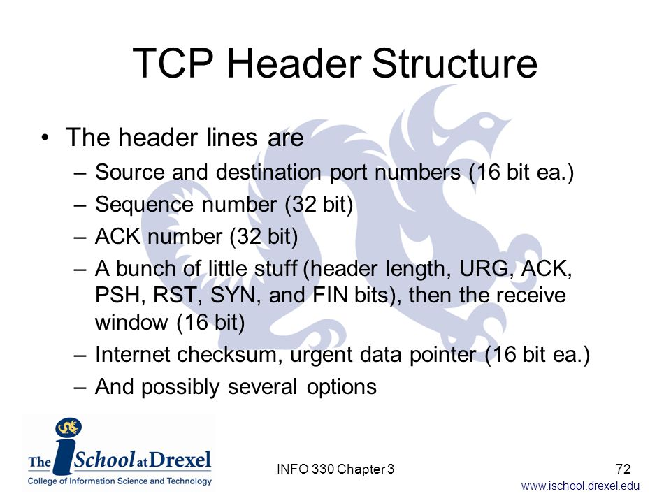 TCP Header Structure The header lines are