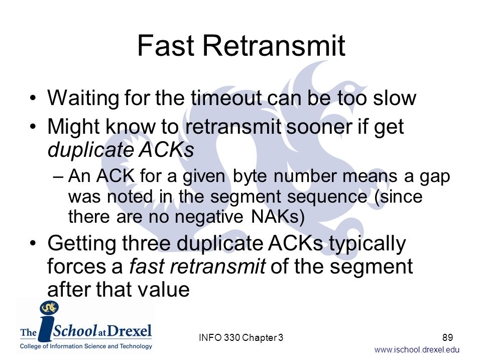 Fast Retransmit Waiting for the timeout can be too slow