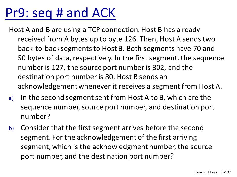Pr9: seq # and ACK